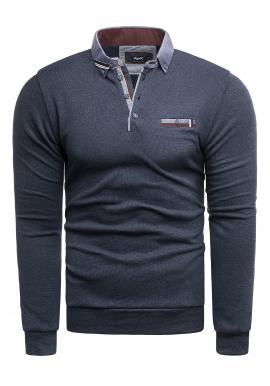 Módny pánsky sveter tmavomodrej farby s golierom