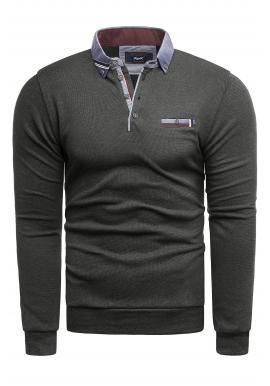 Tmavosivý módny sveter s golierom pre pánov