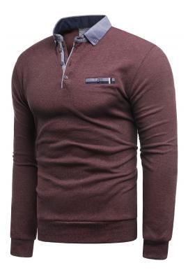 Módny pánsky sveter bordovej farby s golierom