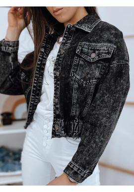 Dámska krátka rifľová bunda v čiernej farbe