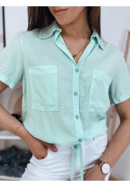 Dámska košeľová blúzka s oversize strihom v mätovej farbe