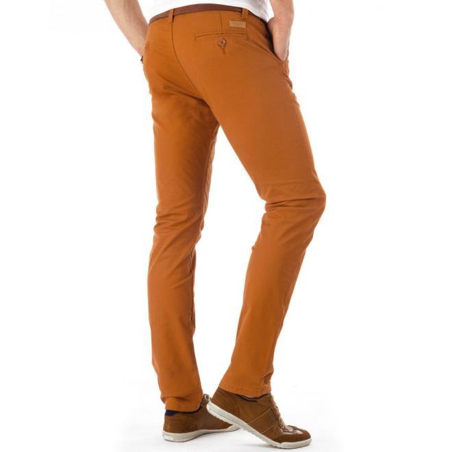 Hnedé pánske nohavice v elegantnom štýle