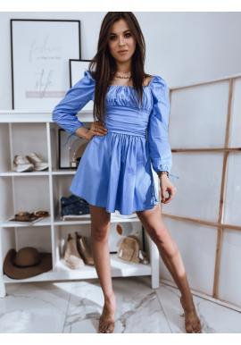 Modré jedinečné šaty s viazanými rukávmi pre dámy
