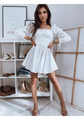 Dámske jedinečné šaty s viazanými rukávmi v bielej farbe