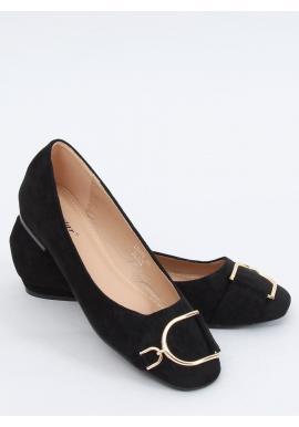 Čierne elegantné balerínky so zlatou aplikáciou pre dámy
