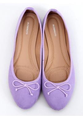 Semišové dámske balerínky fialovej farby s mašľou