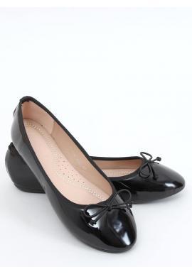 Dámske lakované balerínky s mašľou v čiernej farbe