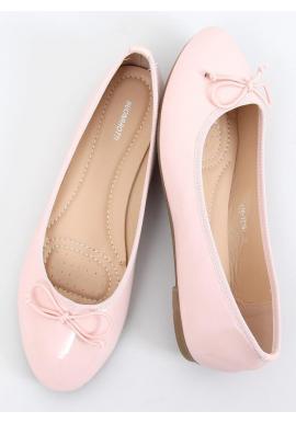 Lakované dámske balerínky ružovej farby s mašľou