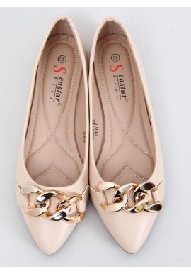 Štýlové dámske balerínky béžovej farby so zlatou retiazkou
