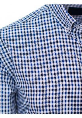 Vzorovaná pánska košeľa modrej farby s dlhým rukávom