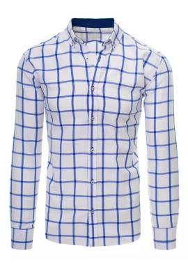 Biela košeľa s modrým kockovaným vzorom pre pánov