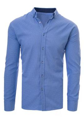 Modrá košeľa s bielym kockovaným vzorom pre pánov