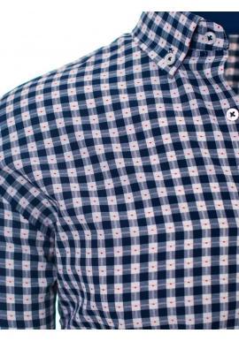 Vzorovaná pánska košeľa modro-bielej farby s dlhým rukávom