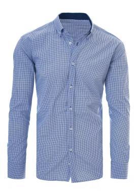 Pánska košeľa s kockovaným vzorom v modrej farbe