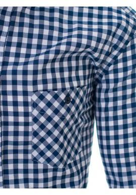 Modro-biela kockovaná košeľa s vreckom pre pánov