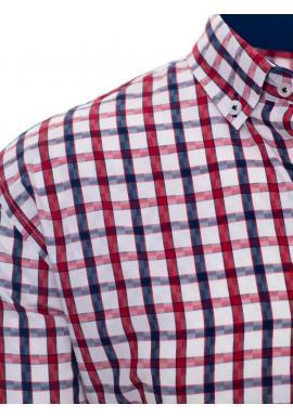 Kockovaná pánska košeľa bielej farby s dlhým rukávom