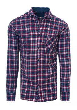 Pánska kockovaná košeľa s vreckom v modrej farbe
