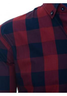 Bordovo-modrá kockovaná košeľa s dlhým rukávom pre pánov