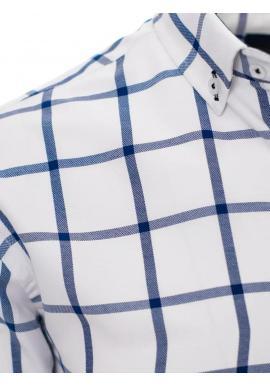 Kockovaná pánska košeľa bielo-modrej farby s dlhým rukávom