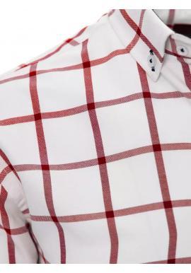 Pánska košeľa s červeným kockovaným vzorom v bielej farbe