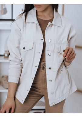 Béžová klasická riflová bunda pre dámy
