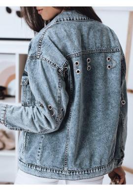 Svetlomodrá riflová bunda s kovovými prvkami pre dámy