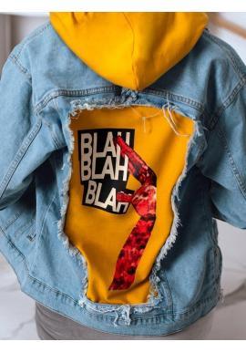 Dámska riflová bunda s potlačou na chrbte v svetlomodrej farbe