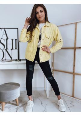 Žltá riflová bunda s kovovými prvkami pre dámy
