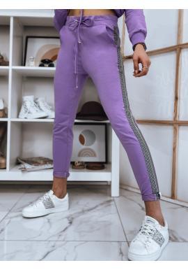 Dámske nohavice s módnym pruhom vo fialovej farbe