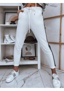 Biele nohavice s módnym pruhom pre dámy