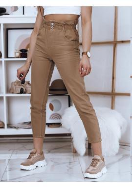 Hnedé módne nohavice s vysokým pásom pre dámy