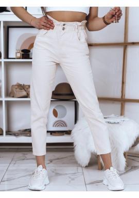 Dámske módne nohavice s vysokým pásom v béžovej farbe