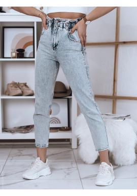 Módne dámske nohavice svetlomodrej farby s vysokým pásom