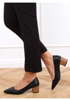 Elegantné dámske lodičky čiernej farby na širokom podpätku