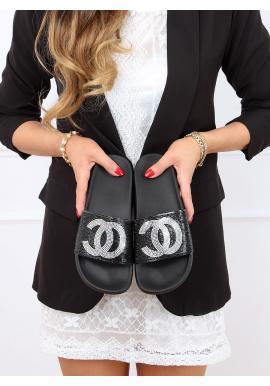 Čierne štýlové šľapky s kamienkami pre dámy