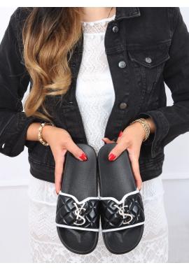 Prešívané dámske šľapky čiernej farby s trblietavou ozdobou