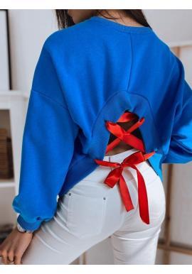 Modrá bavlnená mikina s viazaním na chrbte pre dámy
