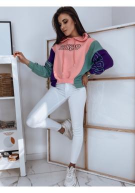 Štýlová dámska mikina ružovej farby s potlačou