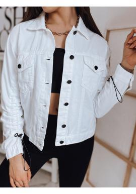 Dámske riflové bundy v bielej farbe
