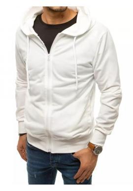 Zapínaná pánska mikina bielej farby s kapucňou