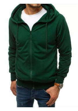 Zapínaná pánska mikina zelenej farby s kapucňou