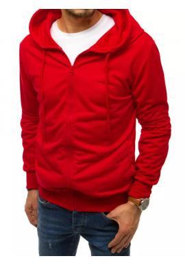Červená zapínaná mikina s kapucňou pre pánov
