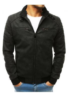 Kožená pánska bunda čiernej farby na prechodné obdobie