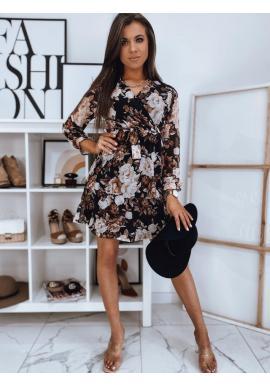 Dámske kvetované šaty s viazaním v páse v čiernej farbe