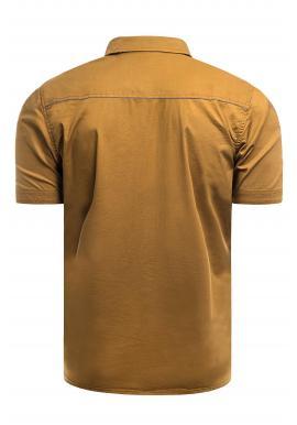 Pánska slim fit košeľa s krátkym rukávom v hnedej farbe