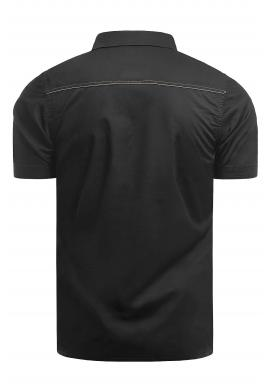 Slim fit pánska košeľa čiernej farby s krátkym rukávom
