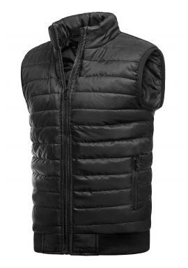 Pánska oteplená prešívaná vesta bez kapucne v čiernej farbe