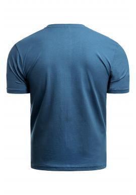 Modré klasické tričko s potlačou pre pánov