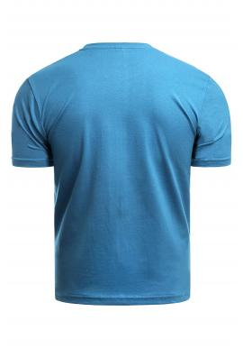 Pánske klasické tričko s potlačou v tyrkysovej farbe