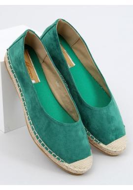 Zelené semišové espadrilky s pletenou podrážkou pre dámy